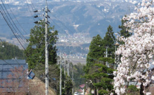 集落の中心を通る参道から眺める妙高山